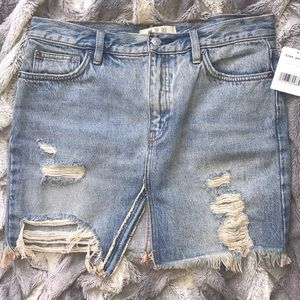 NWT Free People Distressed Jean Skirt